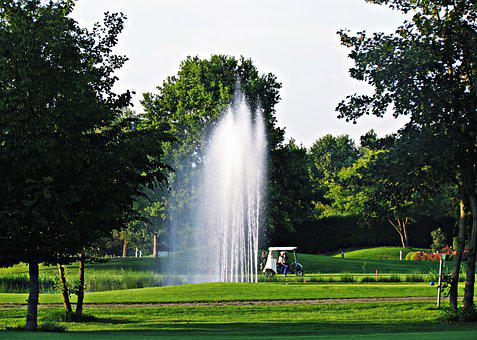 Field, Fountain, Meadow, Golf, Game, Entertainment