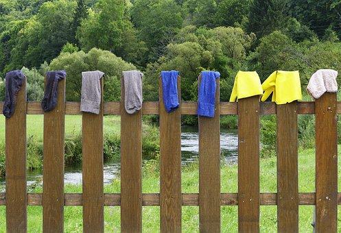 Fence, Laundry, Dry, Wood Fence, Paling, Socks