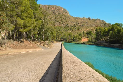Contrast, Turquoise Water, Asphalt, Separation, Wall
