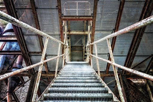 Stairs, Metal, Iron, Up, Down, Up Down, Gradually