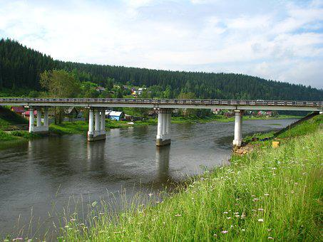 Bridge, Crossing, River, Russia, Summer, Machinery