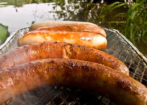 Barbecue, Sausage, Background, Water, Lake, Texture