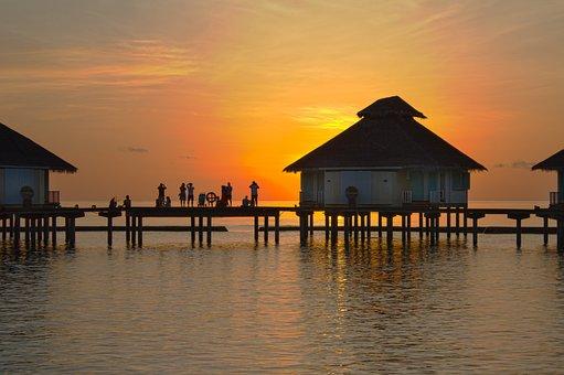 Sunset, Evening, Landscape, Summer, The Maldives, View