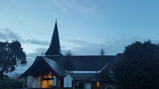 New Zealand, Anglican Church, Evening, Tree, Religious