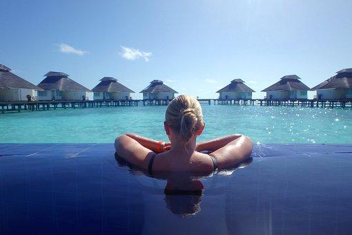 Holiday, View, Girl, Summer, The Maldives, Water, Pool