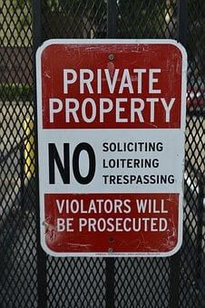 Private Property Sign, No Trespassing, Violators