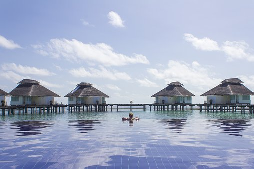 Baths, The Maldives, Person, Girl, Cabins, Water, Pool