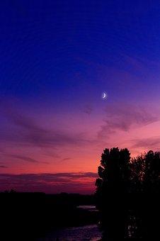 Moon, Sunset, Starry Sky, Water, Mirroring