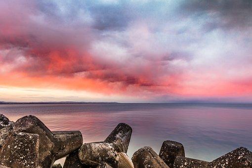 Red Sunset Over The Sea, Sunset, Sea, Burgas, Bulgaria