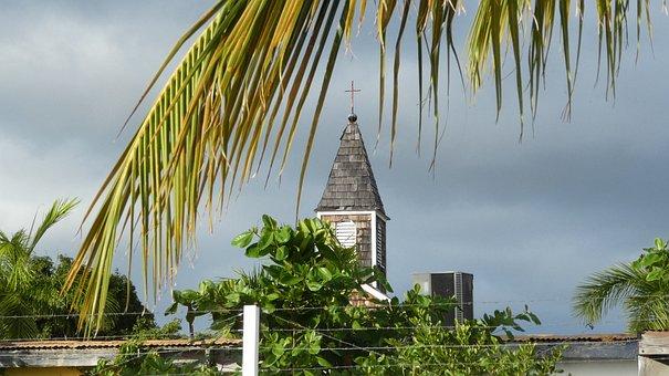 Caribbean, St Maarten, Philipsburg, Palm Trees, Church