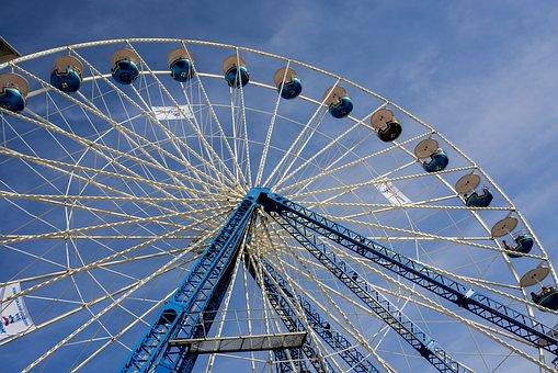 Ferris Wheel, Blue, Sky, Clouds, Folk Festival