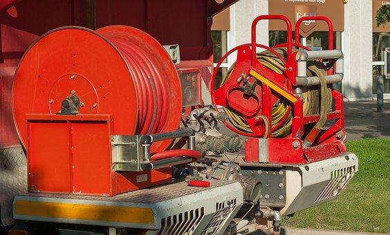 Fire Department, Fire Hoses, Tank, Truck, Lights
