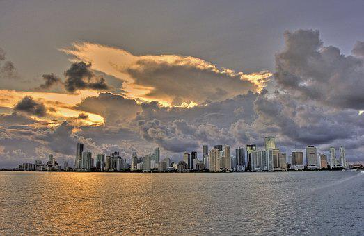 Miami, Clouds, Miami Beach, Florida, Usa, Skyline