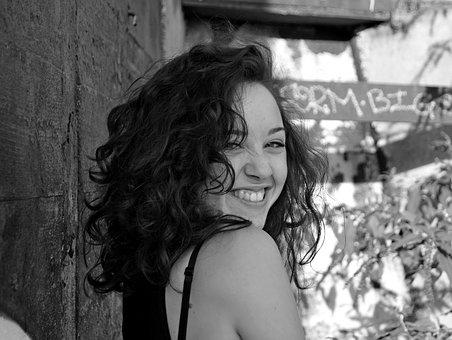 Smile, Girl, Rustic, Short Hair, Curly Hair, Wall