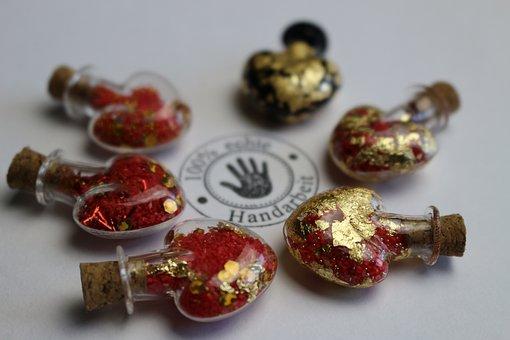 Hand Labor, Diy, Heart, Bottle, Love, Gold, Handicraft