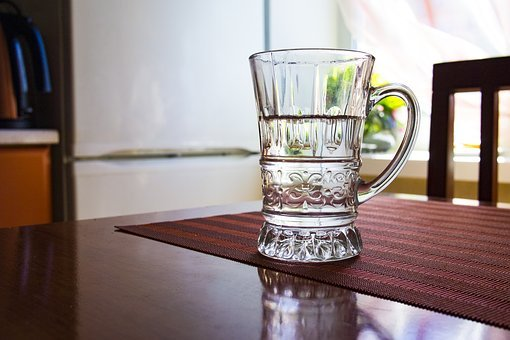 Mug, Cup, Water, Glass, Table, Kitchen, Empty Room