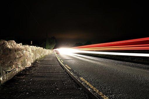 Road, Night, Long Exposure, Autos, Light, Lighting