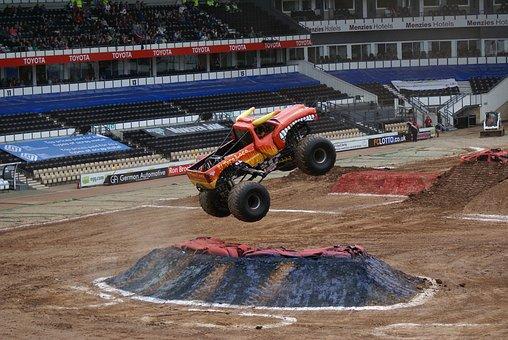 Monster Truck, Truck, 4x4, Custom, Jump, Offroad