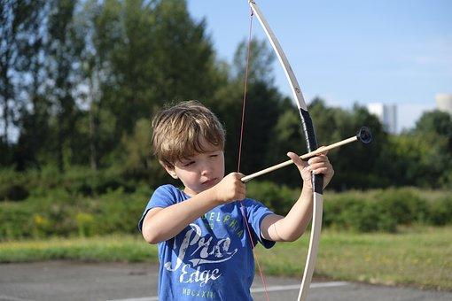 Child, Boy, Arch, Archery, Shoot, Objectives, Arrow