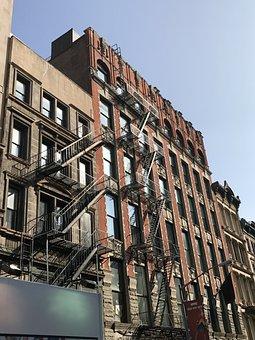 Nyc, Noho, Street, Old, Brownstone, Chinatown, Flats