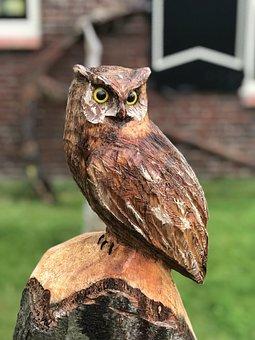 Owl, Wood Carving, Figure