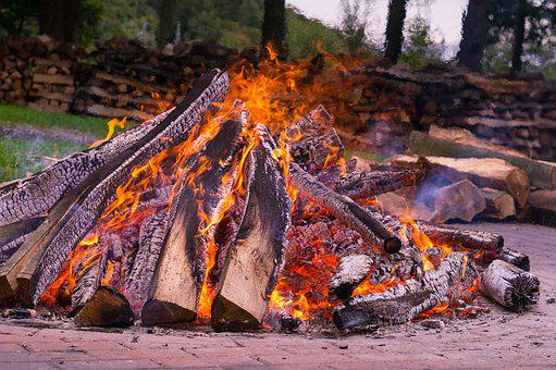 Fire, Hot, Wood, Beech Wood, Potato Fire, Potato Roast