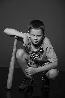 Boy, Teen, Schoolboy, Bit, Squat, Baseball Bat, Sitting