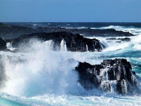 Rocks, Ocean, Sea, The Waves, Storm, Mauritius