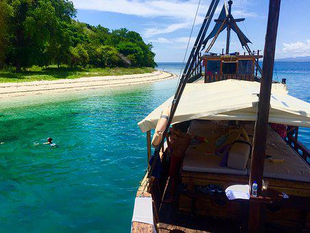 Island, Yacht, White, Sand, Sea, Summer, Water, Blue