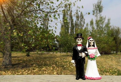 Bride, Groom, Skeleton, Wedding, Love, Couple, Woman