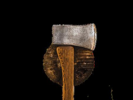 Axe, Tree Stump With Axe, Wood