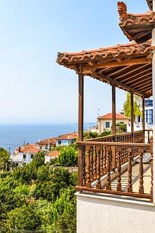 Greece, Skopelos, Glossa, Village, Balcony