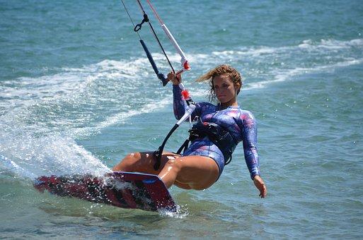 Kitesurfing, Sea, Wind, Kite, Blue, Beach, Ocean