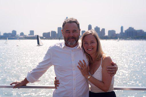 Couple, River, Boat, Blonde, Beard, Mid-age
