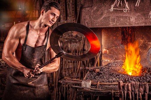 Blacksmith, Fire, Iron, Coal, Glow