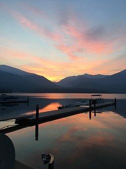 Sunrise, Lake, Boat, Dock, Sky, Nature, Water