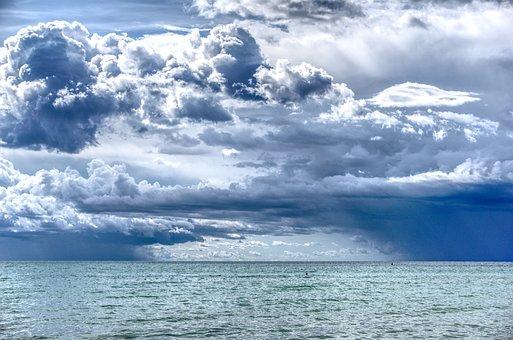 Clouds, Sky, Sea, Water, Drama, Covered Sky