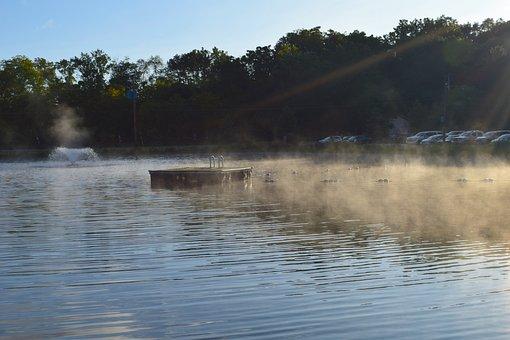 Pond, Sunrise, Fountain, Mist, Water, Landscape, Tree