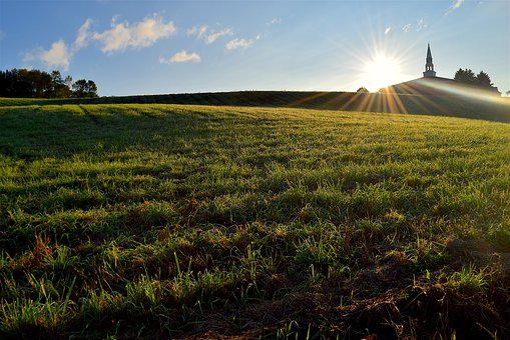 Church, Sunrise, Grass, Green, Sunlight, Sky, Blue