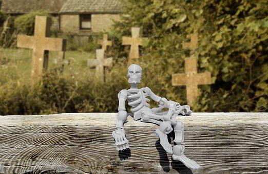 Skeleton, Graveyard, Cemetery, Halloween, Scary, Horror