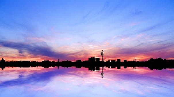 City, Hamburg, Skyline, Sunset, Sunrise, Water