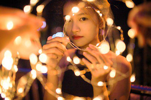 Girl, Night, Portrait, Light, Led, Woman, Young, Person