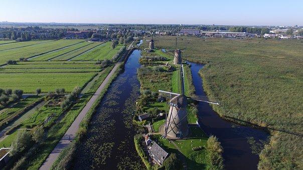 Mill, Kinderdijk, Netherlands, Landscape, Holland