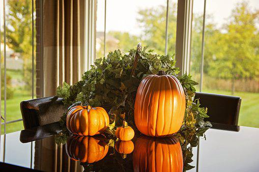 Pumpkins, Fall, Table, Morning, Thanksgiving