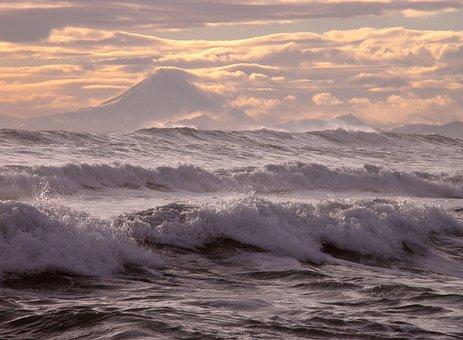 Ocean, Volcano, Mountains, Wave, Storm, Sunset