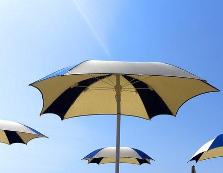 Parasol, Parasols, Sun, Blue Sky, Blue, Beach, Relax