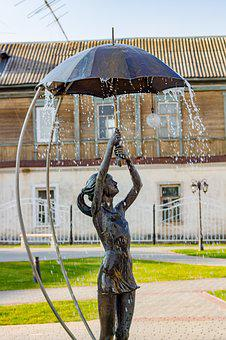 Borovsk, Russia, Girl, Fountain, Sculpture, Rain