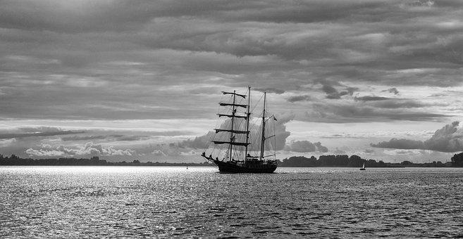 Sailing Vessel, Clouds, Black And White, Lighting, Port