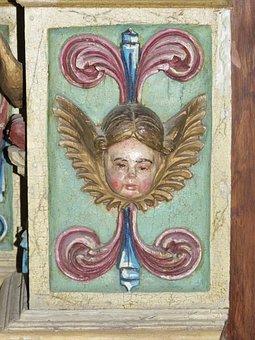 Size, Wood Policromad, Baroque, Cherub, Angel
