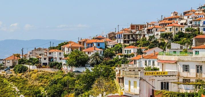 Greece, Skopelos, Glossa, Village, Houses, Landscape
